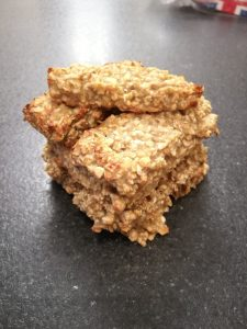 A stack of banana bars on a worksurface