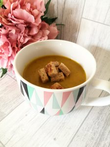 Carrot and Coriander Soup with crunchy croutons