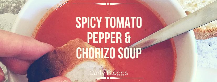 Spicy Tomato Pepper Chorizo Soup Carly Bloggs