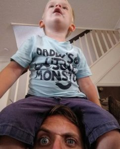 I wrote a post, forgot the title - toddler sitting on dad's head.