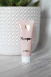 March 19 Glossybox - Baby pink tube with a white cap and Plumper written in gold across the top of the tube