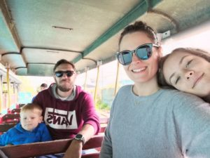 Frugal family days out - The four of us in a open train carriage