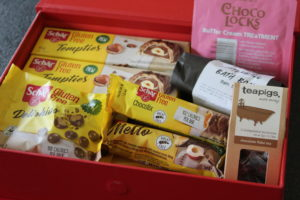 The Schar goodies in a red box