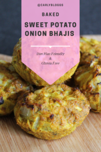 Baked Sweet Potato Onion Bhajis - A perfect syn free side dish recipe. Syn Free on Slimming World. Gluten free and dairy free too. #HealthyDiet