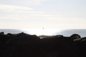New Year Revelation - a small boat centrerd in the sunlight on the sea with rocks silhouetted in front.
