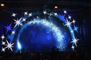 Cinderella at the Mercury Theatre - The stage lit up with a blue aura and white stars making an arch